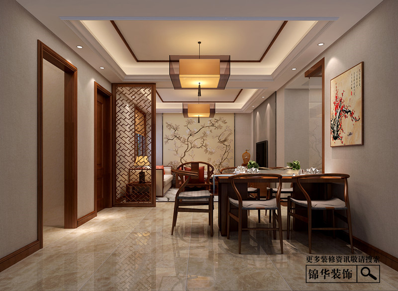 现代中式装修-三室两厅-新中式-江阴锦华装饰图片