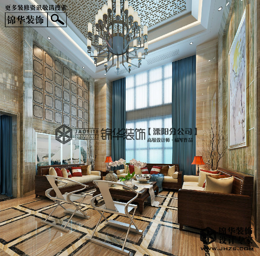 天目国际村别墅新中式风格效果图装修-别墅-新中式