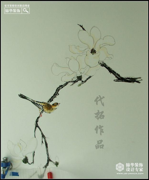 蓝山国际墙面手绘作品装修-小户型-新中式