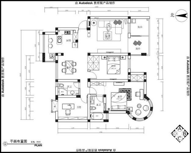 华汇康城装修-三室两厅-地中海