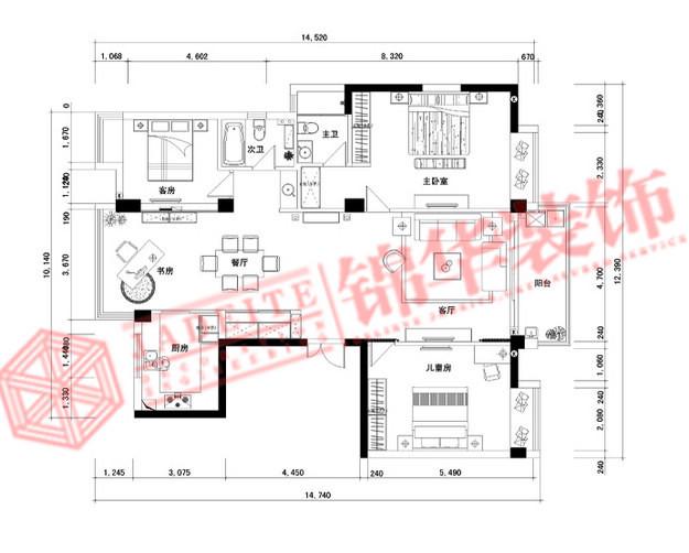 江阴中信泰富简约风格三室两厅效果图 装修-三室两厅-现代简约