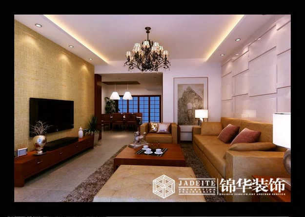 时代上城东南亚风格三室两厅效果图