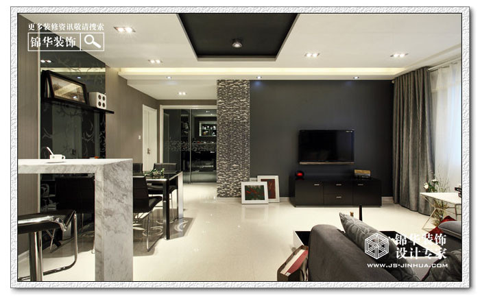 摩登黑白灰-融侨中央花园装修-两室两厅-现代简约