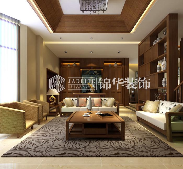 中式挑空别墅客厅吊顶