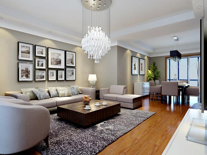 栋203装修 三室两厅装修效果图 现代简约风格 扬州锦华装饰