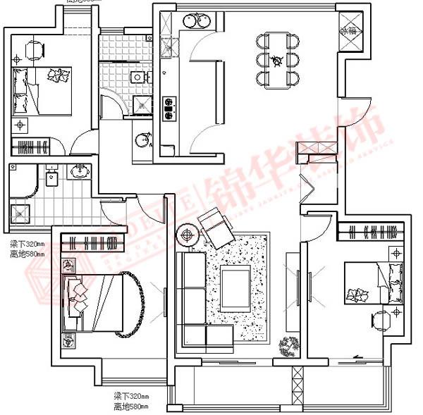 绿地六期装修-三室两厅装修效果图-现代简约风格
