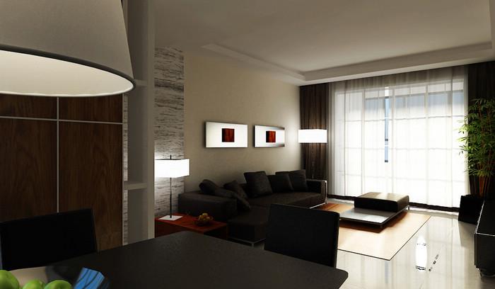 冷色调装修 三室两厅装修效果图 现代简约风格 淮安锦华装饰