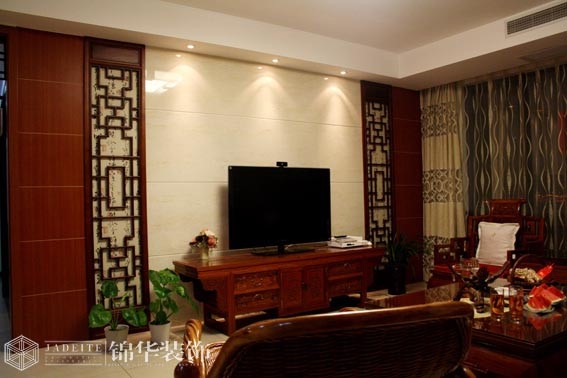 新中式风格实景样板间装修 三室两厅装修效果图 新中式风格 高清图片