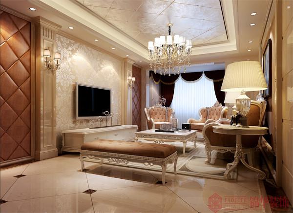 金色地中海装修-三室两厅-新古典