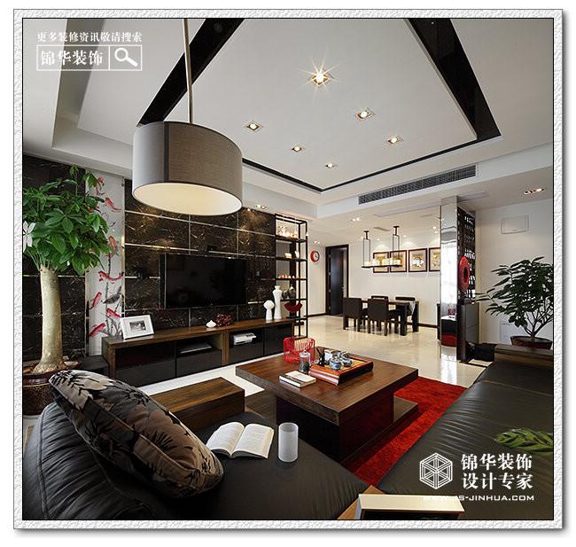 东方新时尚 水月秦淮装修 三室两厅装修效果图 新中式风格