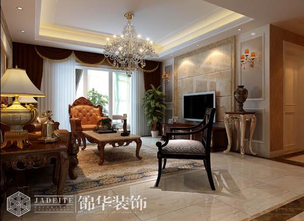 沁春园135平古典奢华效果图 装修-三室两厅-简欧
