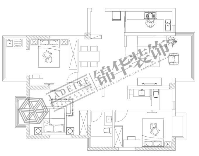 和睦之家装修-两室两厅-新中式