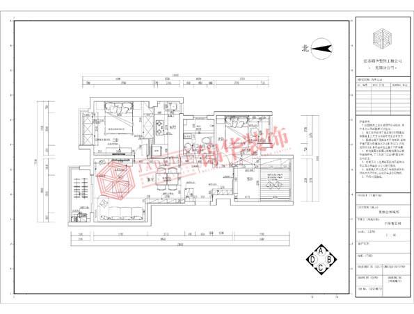 复地公园城邦110平三室两厅两卫现代简约风格效果图 装修-三室两厅-现代简约