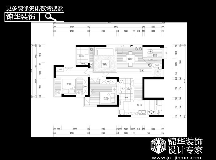 万通城装修-三室两厅-现代简约