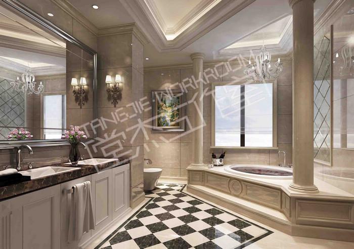 手工砖砌浴缸效果图
