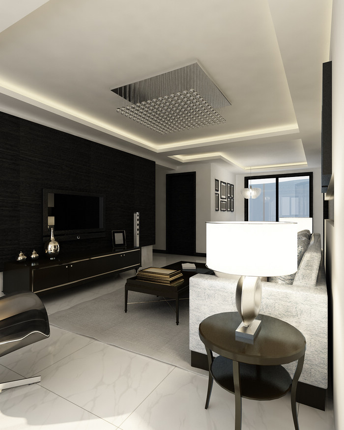 黑白灰装修 两室两厅装修效果图 现代简约风格 淮安锦华装饰