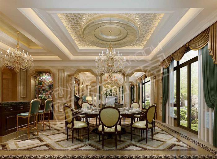 威尼斯花园900平新奢华主义风格效果图装修-别墅-简欧