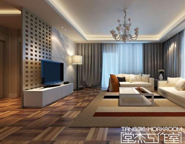 玉兰花园港式风格效果图装修-三室两厅-现代简约
