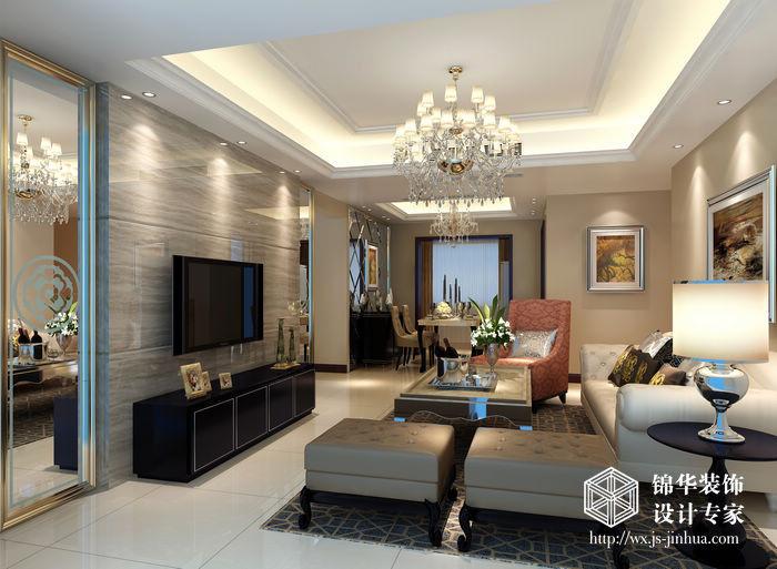 木纹墙纸贴客厅效果图