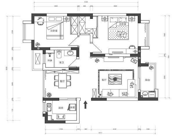 东方龙湖湾装修-两室两厅-现代简约