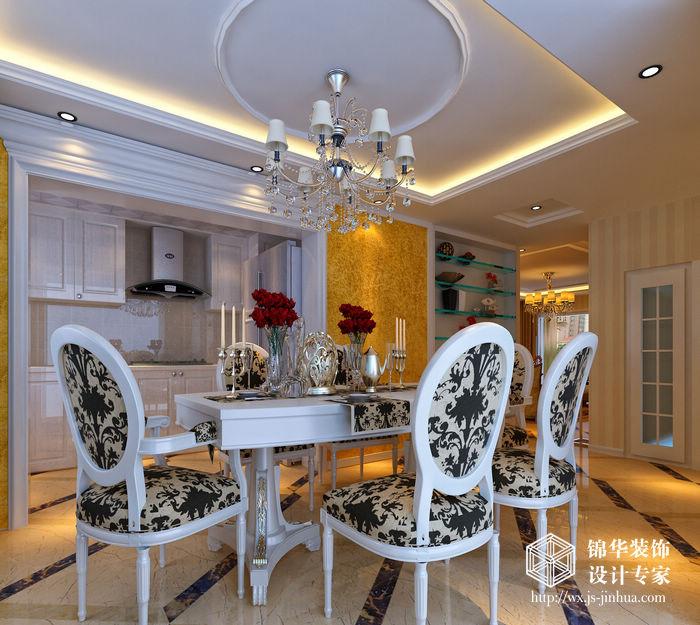 金色阳光147平欧式奢华风格效果图装修-三室两厅-简欧