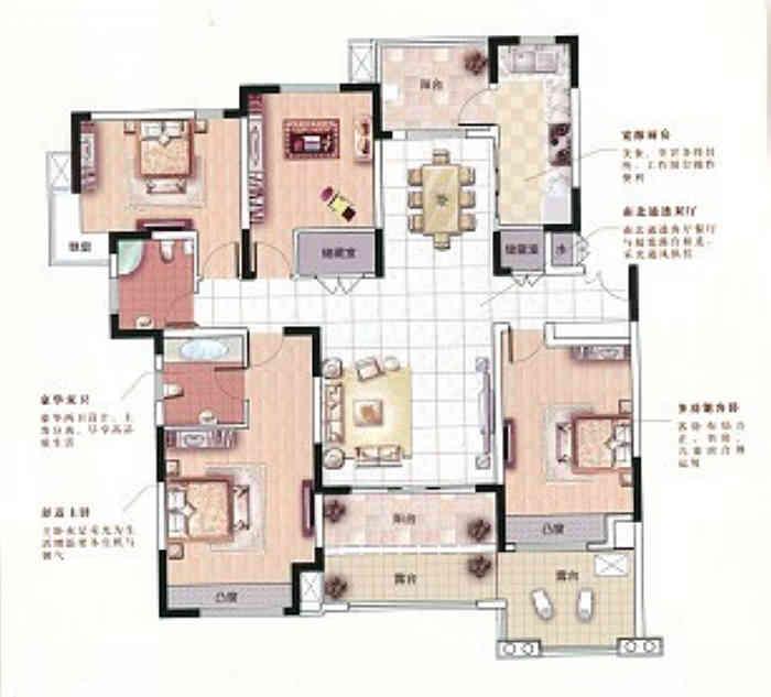 中星湖滨城153平现代风格户型解析