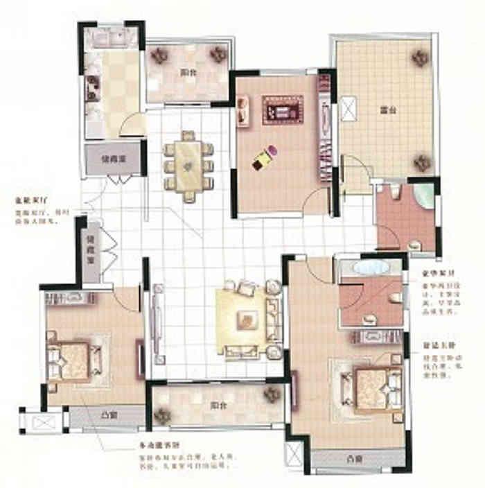 中星湖滨城139平现代简约风格户型解析