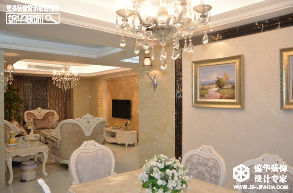 文艺复兴装修-三室两厅装修效果图-欧式古典风格
