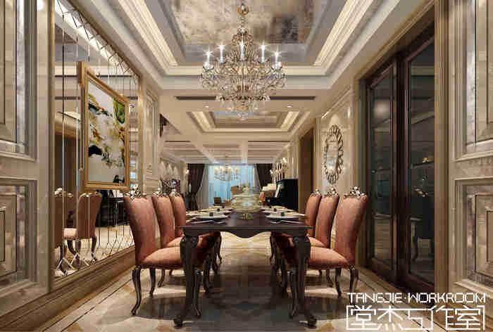 天元世家复式结构欧式风格效果图装修-大户型-欧式古典