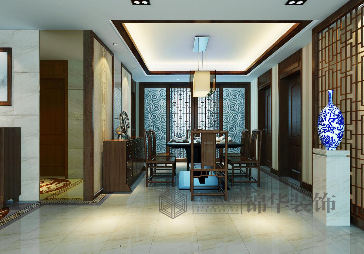 金域蓝湾装修-三室两厅装修效果图-新中式风格