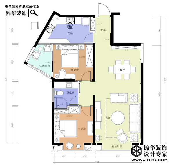 江畔月光-明发滨江新城装修-两室两厅-简欧