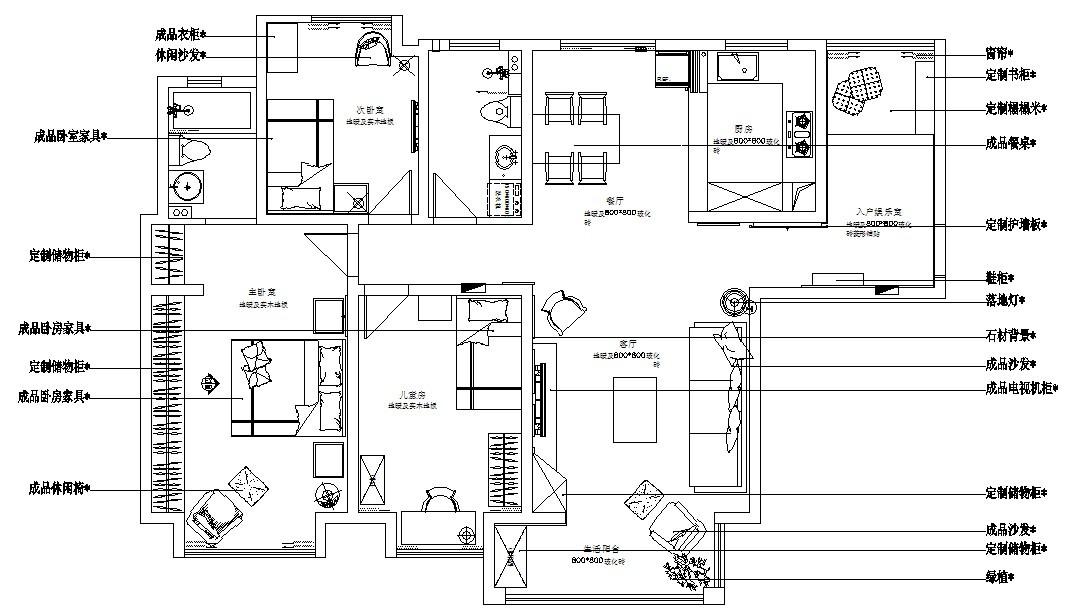 天骄世家装修-三室两厅装修效果图-现代简约风格
