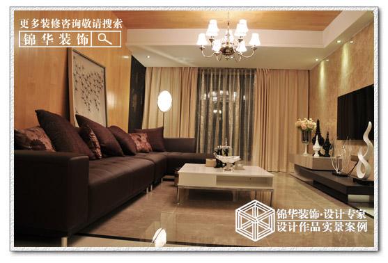 中南世纪花城装修 三室两厅装修效果图 现代简约风格 南通锦华装饰 -