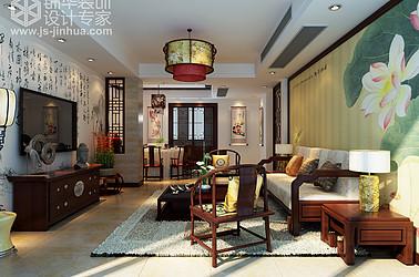 江阴长江御园132平米三室两厅两卫新中式风格效果图