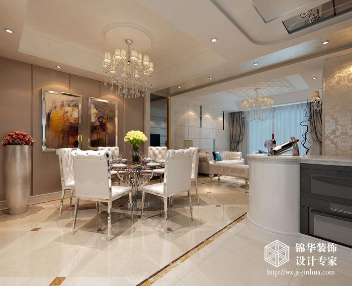 蔚蓝观邸128平现代简约风格效果图装修-三室两厅-现代简约