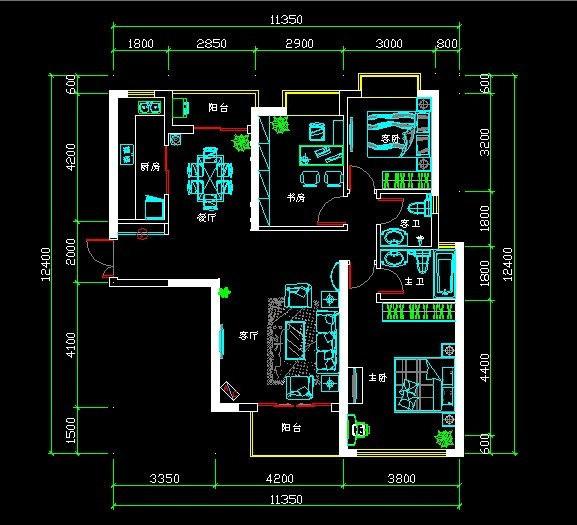 万达广场装修 两室两厅装修效果图 简欧风格 淮安锦华装饰