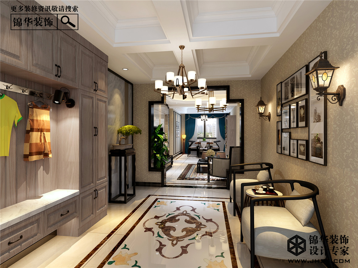 绿地世纪城装修-三室两厅-新中式
