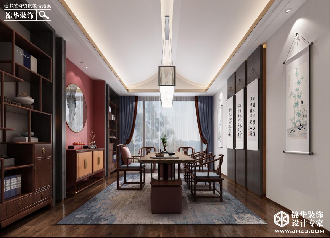 新中式-白鹭湖庄园-540㎡-别墅装修-别墅-新中式