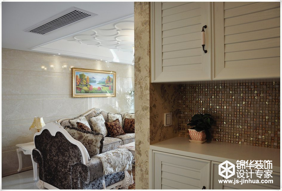 装修图片-大   碧桂园120平装修案例,三室二厅简欧风格装修实