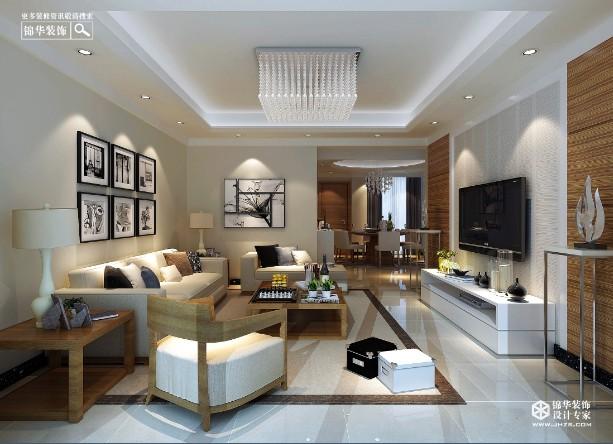 靖江铂邻公馆130平米现代简约风格效果图装修 三室两厅装