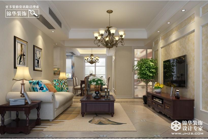 东方华府联排别墅340平方美式风格效果图装修-别墅