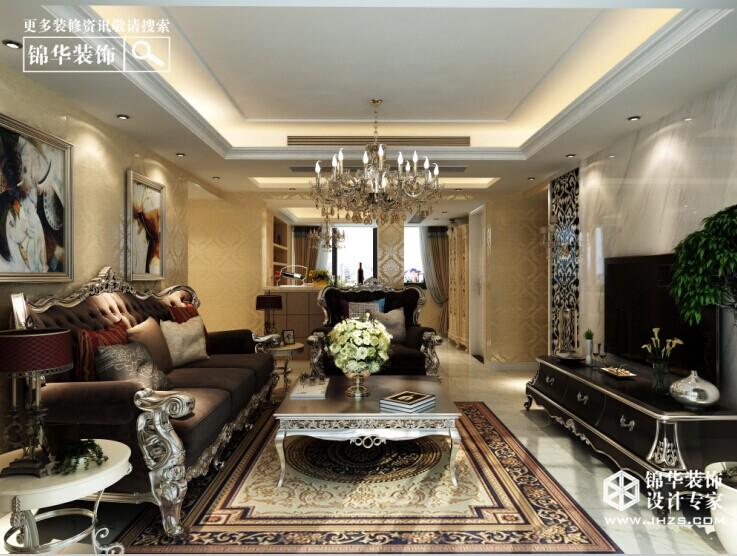 江阴东方王府142平米欧式风格效果图装修-三室两厅-欧式古典
