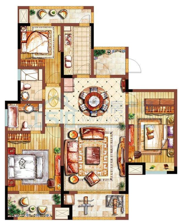 江阴院子130平方米-装修设计方案-江阴锦华装饰