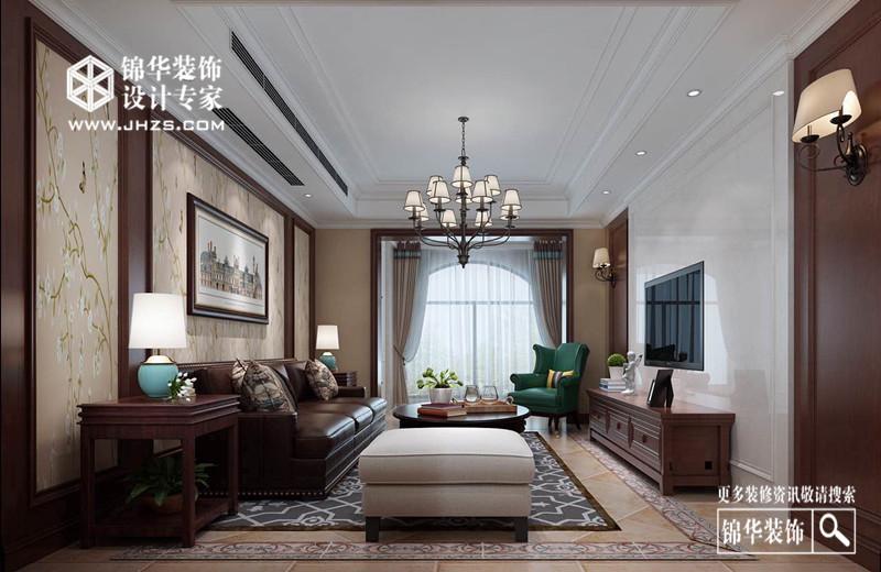 阳光假日140平新中式效果图装修-三室两厅-新中式