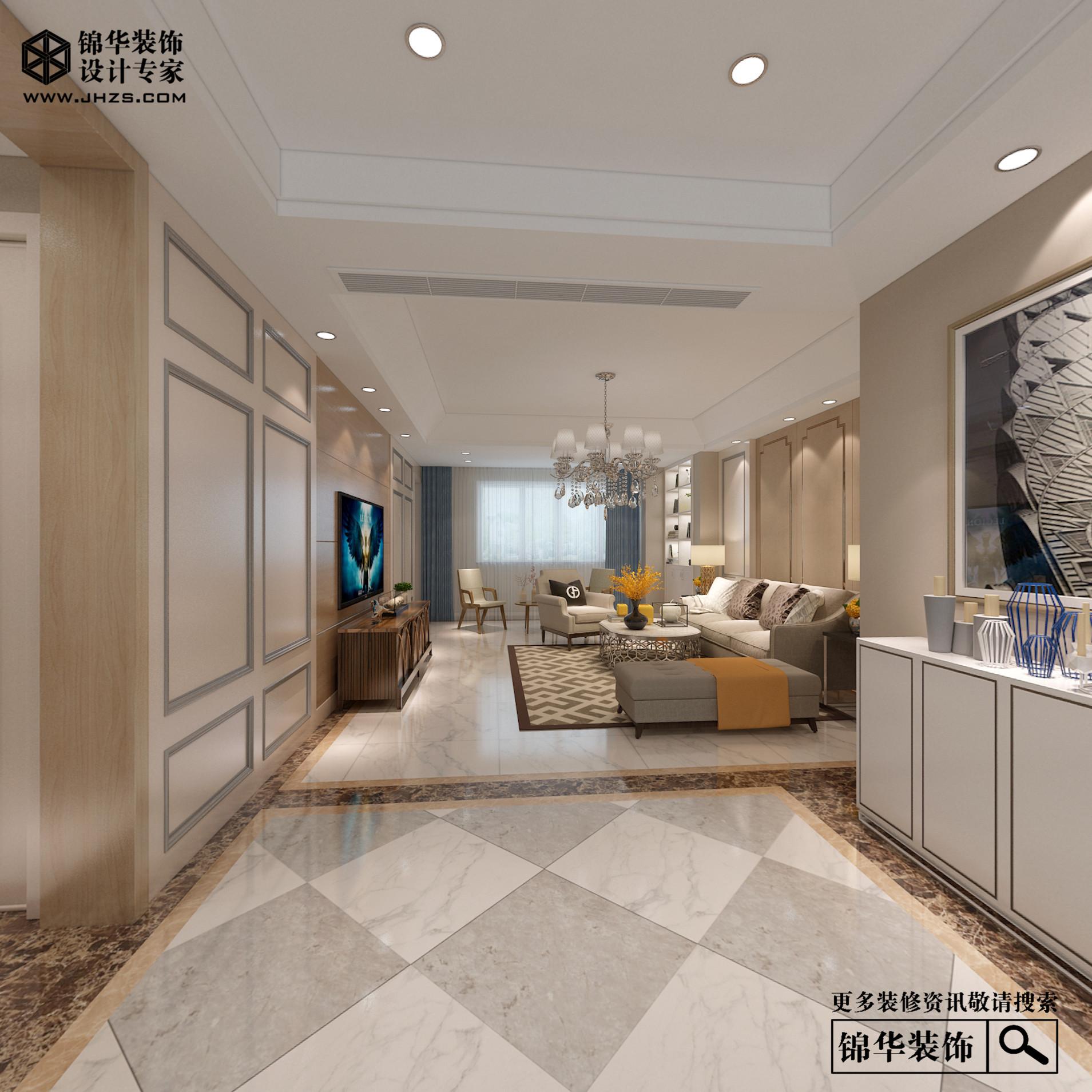 江阴院子140平c户型现代简约效果图装修-三室两厅