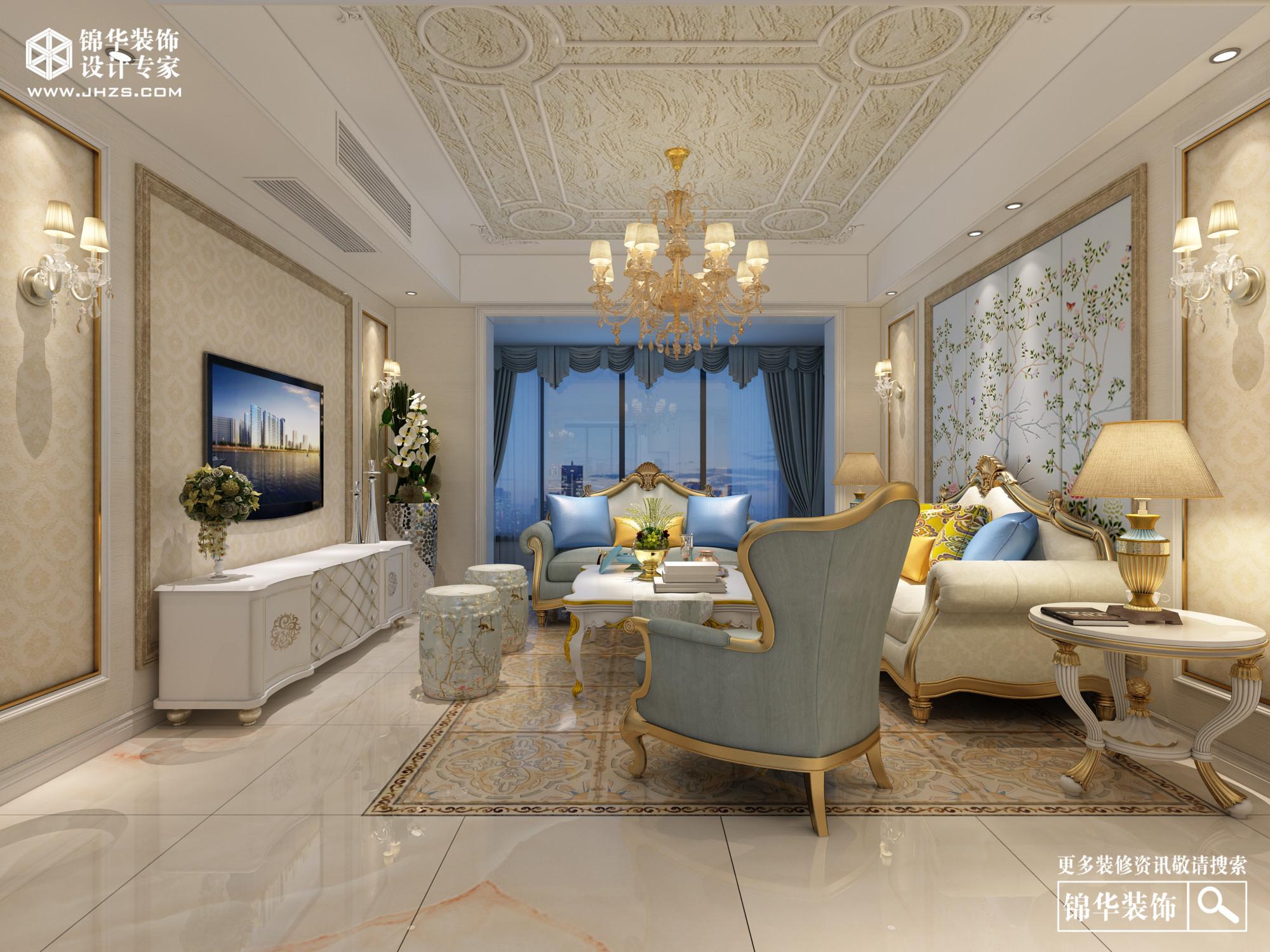 长江万悦城130平欧式效果图装修-三室两厅-欧式古典
