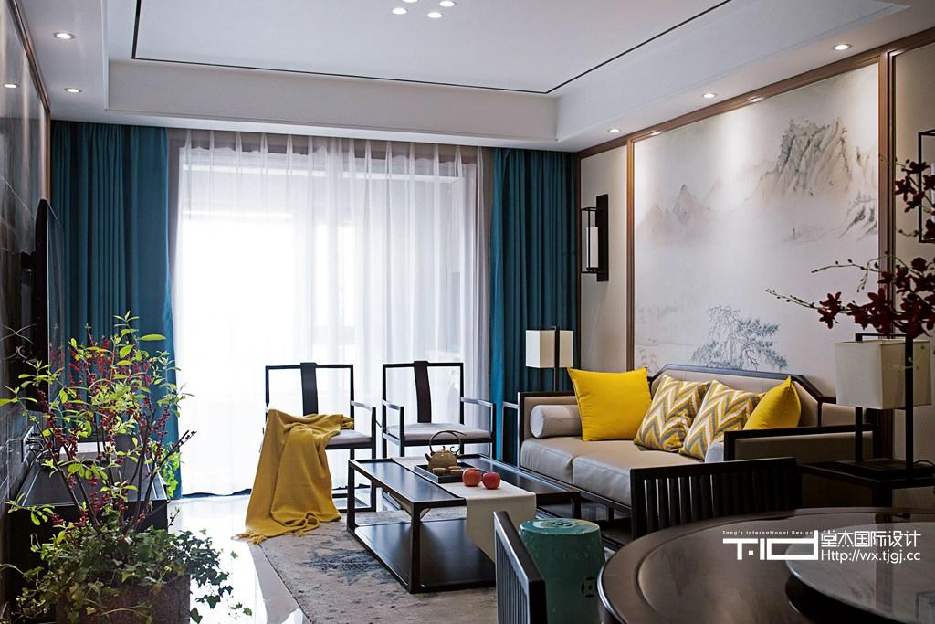 黄山湖壹号105平新中式风格实景图装修-大户型-新中式