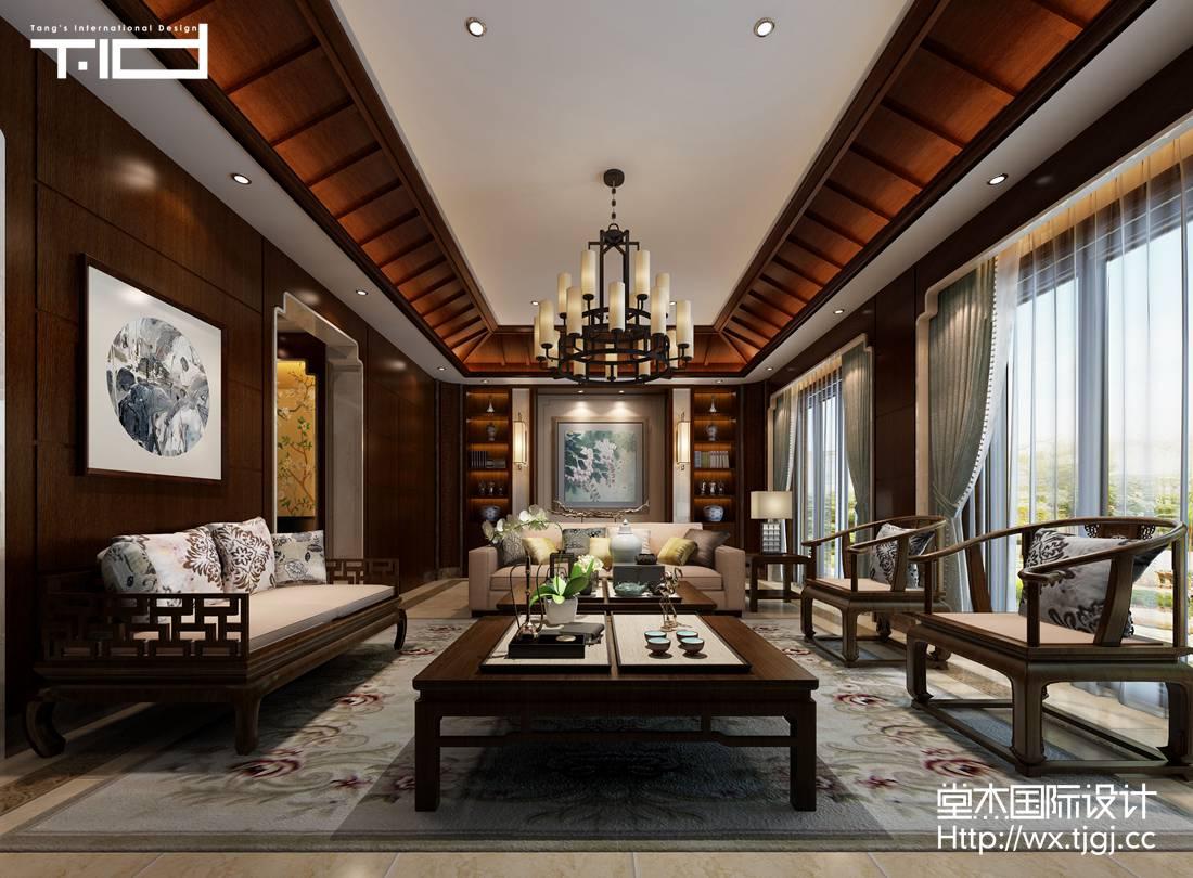 爱家名邸450平现代中式风格效果图
