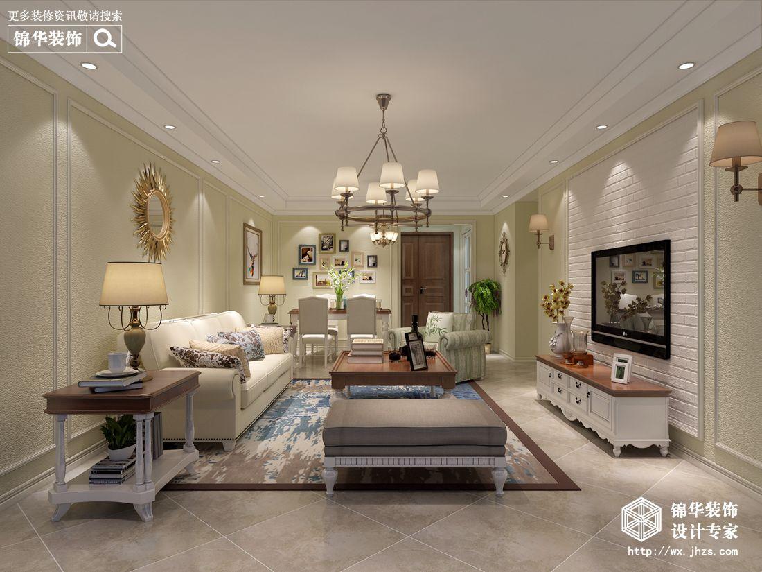 金辰国际140平美式风格效果图装修-三室两厅-简美