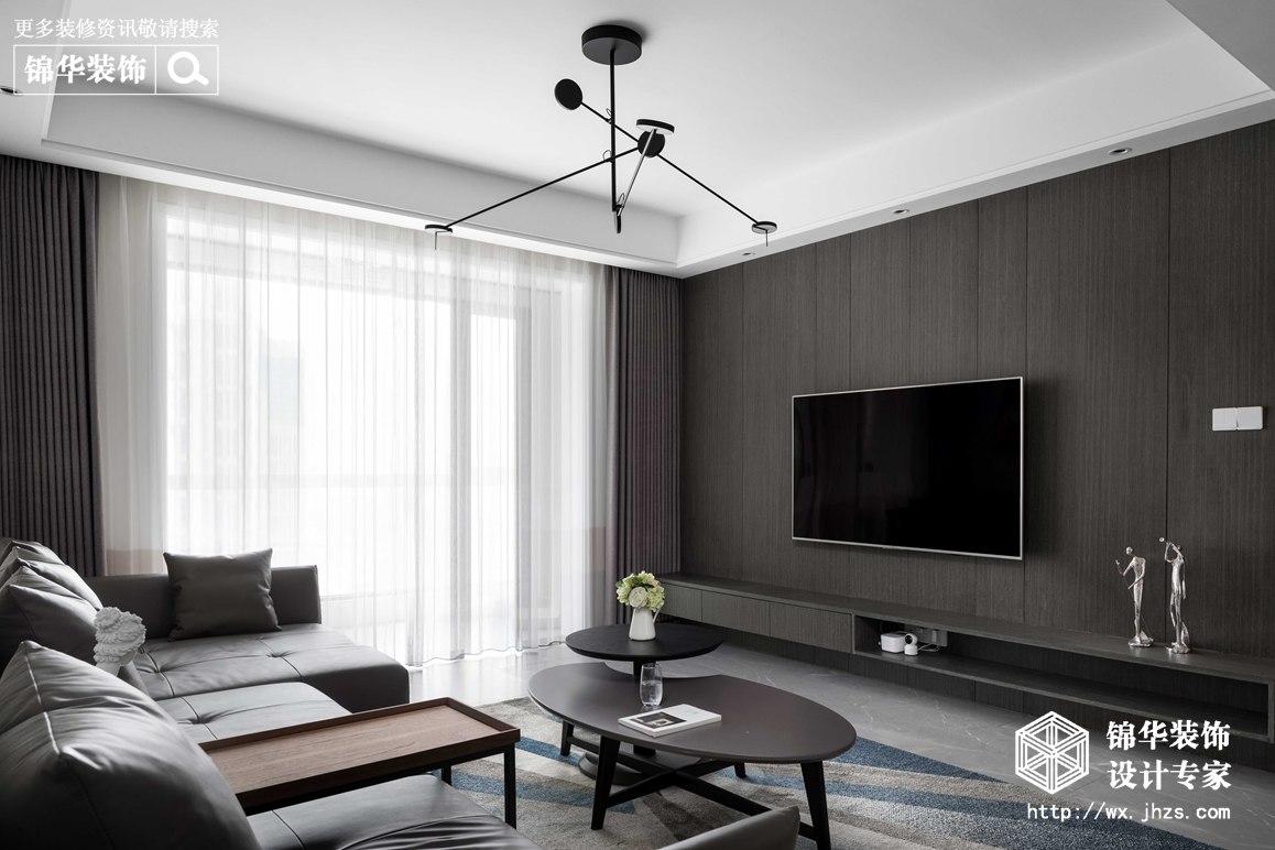 现代简约-华悦氿峰-两室两厅-118平-客厅-装修效果实景图